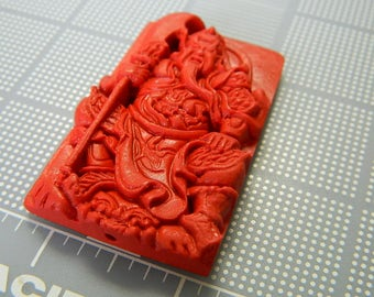 Red Cinnabar Carved Guan Yu Pendant - Courage & Ferocity Pendant - Chinese Cinnabar Warrior Guan Yu Amulet