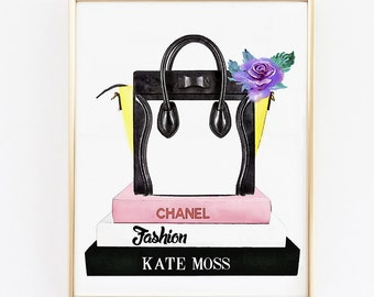 Celine bag illustration. Fashion books. Watercolor bag. fashion printable poster. Fashion artwork