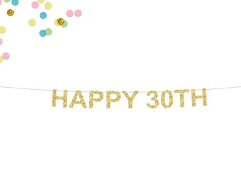 Happy 30th Glitter Banner | 30th Birthday Banner | Birthday Banner | Thirty | 30th Party Banner | 30 | 30th Wedding Anniversary | 30th Decor