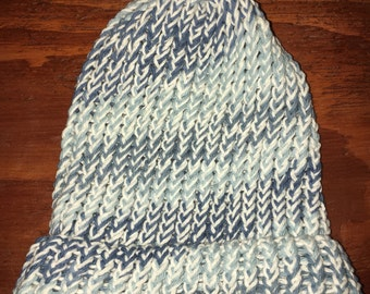 Knitted Blue and White Beanie
