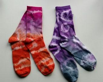 Purple and pink Tie dye socks 2 pairs