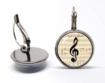 Music earrings Musician gift Treble clef earrings Music jewelry Musical earrings Treble clef jewelry Music note Gift for student For singer