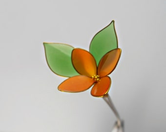 Hair pin,flower with gold beads,accessories for women,kanzashi, orange and green,hair clip,golden jewelry,floral bobby pin,gift for her