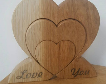 Love you to pieces freestanding hardwood heart ornament