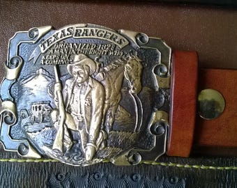 Pre-Owned Texas Rangers Buckle with NEW 100% leather Belt (Adult)