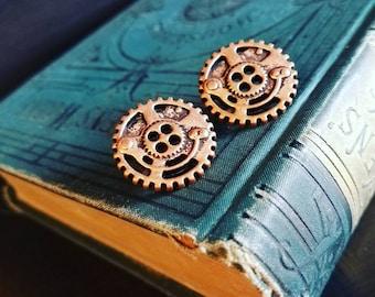 Steampunk Copper Button Earrings, steampunk
