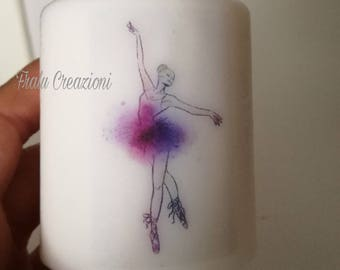 Candle personalized with ballerina