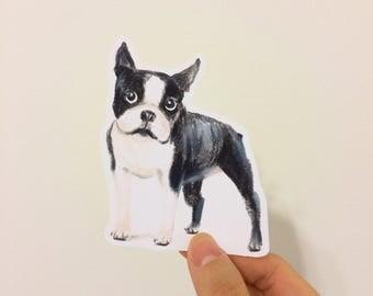 Boston Terrier Water Resistant Stickers , Iphone Stickers, Ipad, Vinyl Sticker,