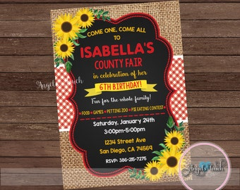 County Fair Birthday Party Invitation, County Fair Party Invitation Sunflowers, Burlap Party Invitation with Sunflowers, Digital File
