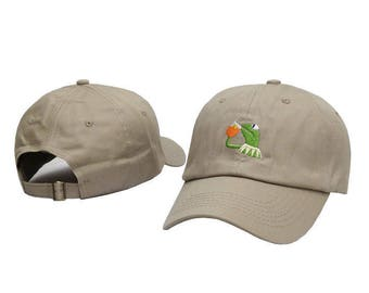 Khaki embroidered kermit the frog none of my business dad hat