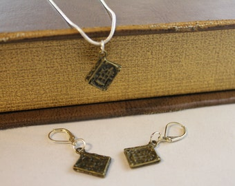 Bronze Book Necklace and Earring set