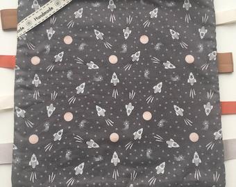 Handmade Baby Taggie Blanket, Rocket Ship/ Space Tag Blanket, Sensory Blanket, Labels and Ribbon.