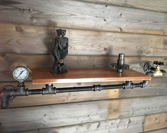 Rustic Oak Pipe Shelf, Steampunk Style