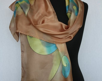 Hand-painted silk scarf (pongé 5), 165 x 40 cm, Brown with yellow and blue (L-0061)