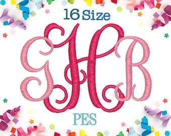 16 Sizes Interlocking Monogram Embroidery Font PES Embroidery Machine,Embroidery Font,Embroidery Design,Monogram Font,Monogram Initials