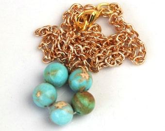 Impression Jasper necklace - Gemstone jewelry - Gemstone necklace - Circle pendant - round pendant - Electroplated gold chain