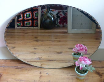Oval mirror bevelled 40 years mirror beveled retro vintage Bohemian Beveled oval mirror 40 years beveled mirror retro bohemian vintage