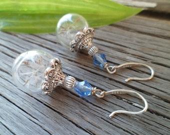 925 Silver Dandelion Earrings - Dandelion Earrings, Terrarium Earrings,  Dandelion Seeds in Glass - Make a Wish!