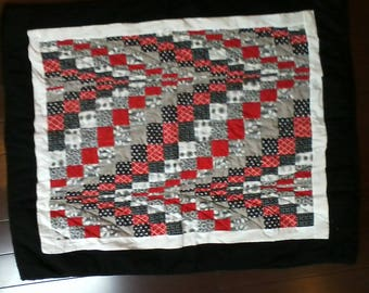 Red, Black and White Bargello Wall Hanging