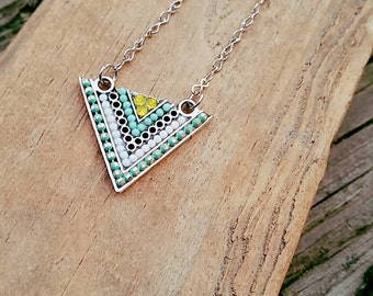 Silver Triangle with aqua and yellow beads
