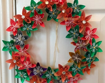 Large Origami Flower Wreath