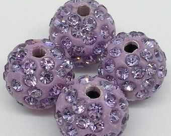 50pcs -8mm 10mm 12mm Violet Pave Crystal Beads, Shamballa Beads,Disco Ball Beads For Jewelry Making