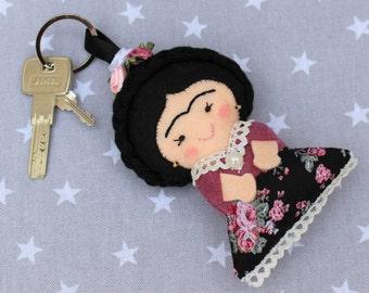 Frida Kahlo, Frida Keychain felt, personalized gift, porta keys, Frida Kahlo felt, gift personalized Frida