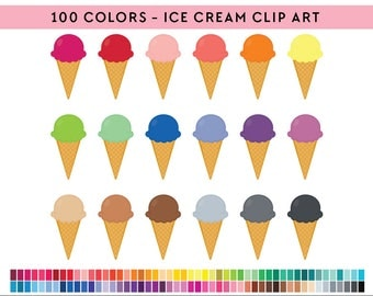100  Ice Cream Clipart, Commercial use, PNG,  Digital clip art, Digital images, Rainbow digital scrapbooking clip art, Ice cream clip art