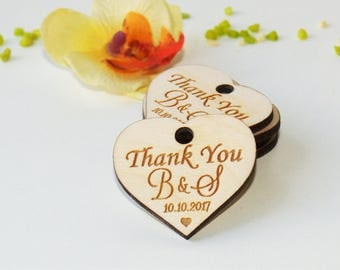 Thank you wood wedding tags-Wedding favors-Gift tags-Wedding favor rustic-Wedding tags-Custom favor-Custom tags-Wooden tags-Thank you rustic