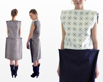 Avant garde designer dress / Midi dress / Dress like art / Unique dress / and gift for you )