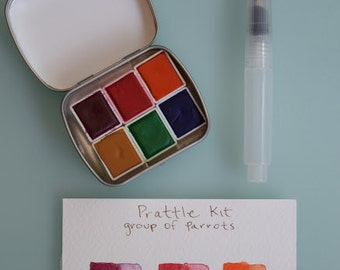 Watercolour paint Handmade Mini Tin PRATTLE kit Includes - 6 half pans - Free Tin and Waterbrush included