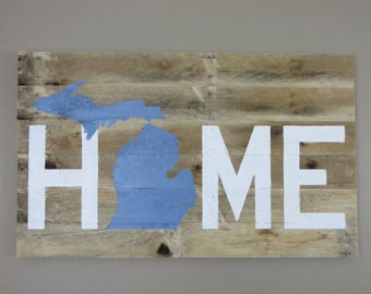 "Michigan Home Pallet Wood Sign - Pallet Sign - Rustic Sign  18"" x 30"""
