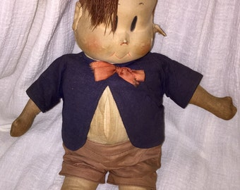 Tubby Little Lulu Doll - Complete! Rare 1930's or 40's made by Georgene Novelties