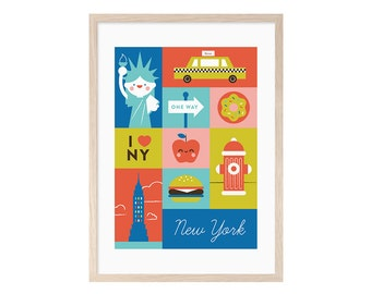 New York. Child New York blade. Illustration, printable, printing, children, donuts, Burger, ny