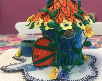 Fairy House Embroidered (Blue and Orange)