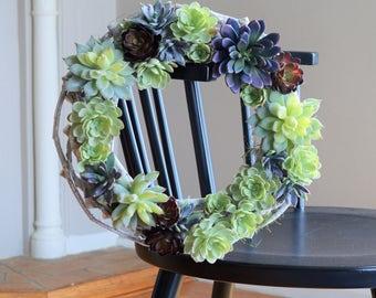 Desert Succulent Wreath | Summer Wreath | Front Door Wreaths | Summer Wreaths for Front Door | Faux Succulent Wreath | Housewarming Gifts
