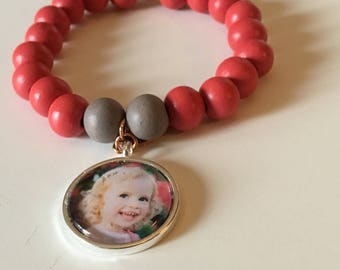 Bracelet with Fotobedel with own photo and beads of your choice