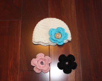 Scallop Crochet Baby Hat with Interchangeable Flowers