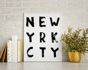 New York City, New York City Wall Art, NY, Newyork, Typography Wall Art,  New York Art, Typography, New York Print, New York City Poster,