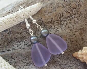 "Handmade in Hawaii, ""Magical Color Changing"" Purple sea glass earrings"