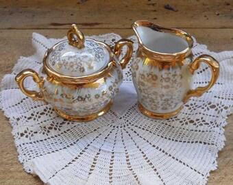 Ceramic Creamer and Sugar Bowl Set Gilt Japan