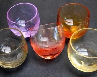 Shot Glasses Harlequin Bird Etching Moser Vintage