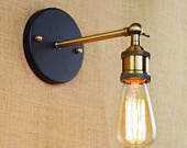 Industrial Vintage Wall Mounted Light  Lamp rustic look. Antique retro brass copper metal finish. Edison bulb. Sconce Brass art deco french