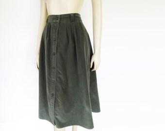 1980s Cord Skirt, UK16, Vintage Clothing, Boho Skirt, Buttoned Skirt, A-Line, Long Skirt, Festival Clothing, Hippy, Hippie, Gypst, Peasant