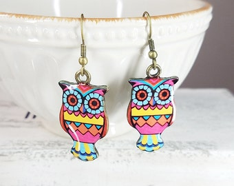 Illustration Owl Brass Dangle Earrings,Adorable, Cute and Fun
