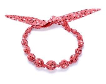 Girls Beaded Cloth Necklace - Stars - Peach