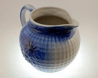 Antique Cobalt Blue and White Salt Glaze Molded Stoneware Pottery Jug Pitcher, Vintage 1890s-1900s, Poinsettias  on Caning Background
