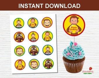 Curious George Cupcake Toppers, Curious George Party Printable, Party Favors, INSTANT DOWNLOAD