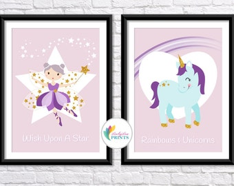 Unicorn print - Set of 2 Prints in Pastels - Cute Unicorn Print and Lovely Fairy Print