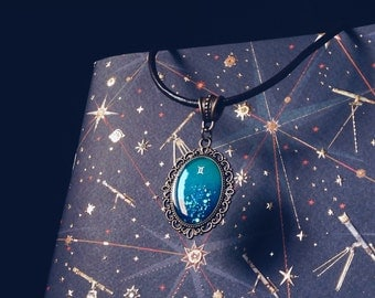 Gemini pendant, zodiac jewelry, astrological necklace with shining galaxy art for Astrology lovers
